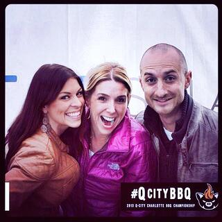 TapSnap franchisees Aleece Kingsley-Taylor (left) and Brian Pisor (right) helped Jennifer Weintraub (center) do the Q-City Barbecue Charlotte BBQ Championship.