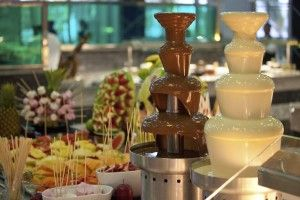 white and milk chocolate fountain station