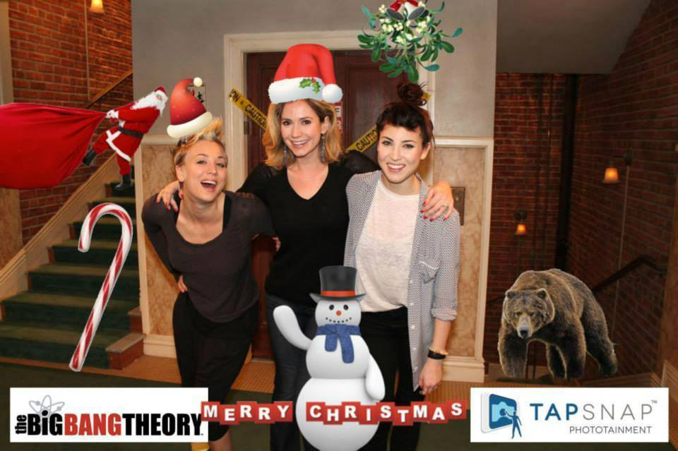 Kaley Cuoco and pals have some TapSnap fun at The Big Bang Theory's Holiday Party.