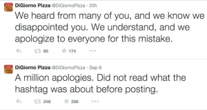 Apology tweets from DiGiorno Pizza