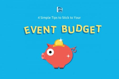 Piggy bank with title: 4 simple tips to stick to your event budget