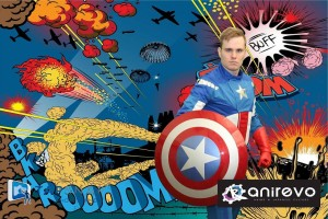 dressed as Captain America standing in front of a comic-themed green screen background