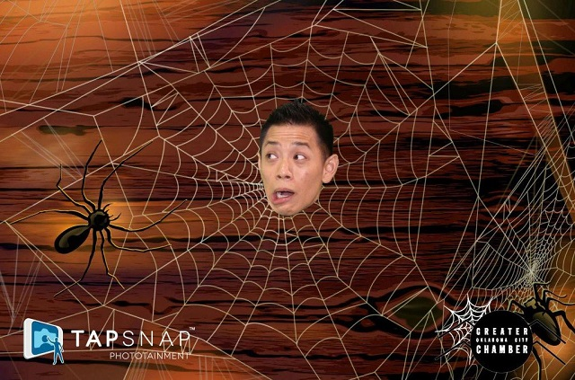 Spider web green screen background for Halloween party entertainment