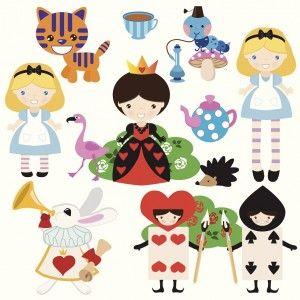 Cartoon illustrations of Alice in Wonderland characters
